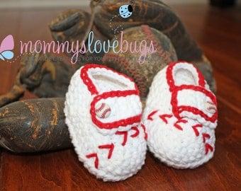 Baseball Crochet Booties - For a Girl or a Boy - Newborn through 24 Months