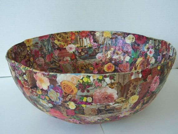 Large Paper Mache Decoupage Bowl Roses Images Original Design