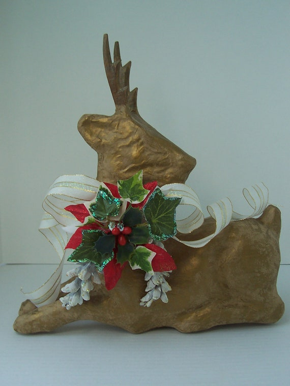 Gold color paper mache reindeer holiday centerpiece
