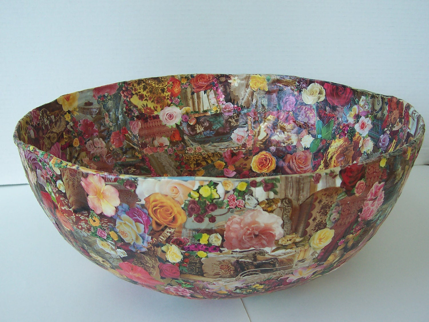 Large Paper Mache Decoupage Bowl Roses Images Original Design