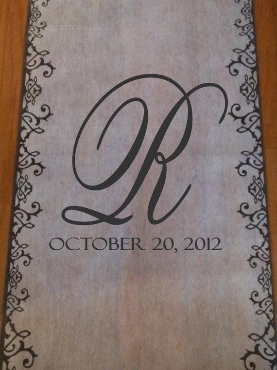 Aisle Runner  50 ft Non-Woven Monogrammed with Initials, Date and a Charcoal Grey Border