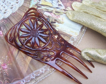 Vintage hair comb Victorian faux tortoiseshell flower design hair accessory