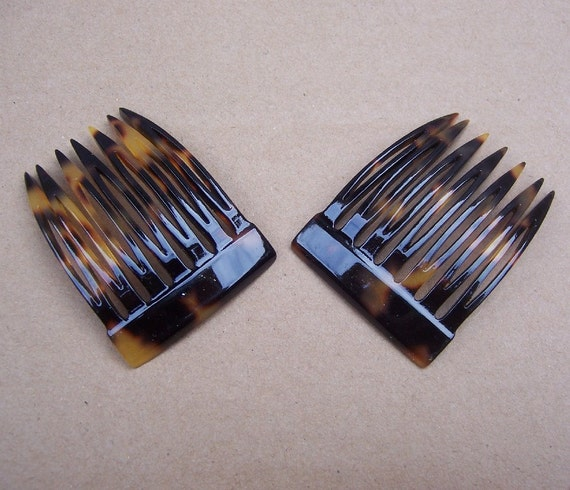 Vintage hair combs signed France Luxe faux tortoise hair accessories