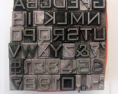 Bank Gothic Light 18 pt Metal Letterpress Type 46 pc Uppercase Numbers
