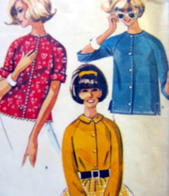 60s Gidget Casual Cardigan Blouse Pattern Vintage  Sewing  McCall's  Bust  31.5