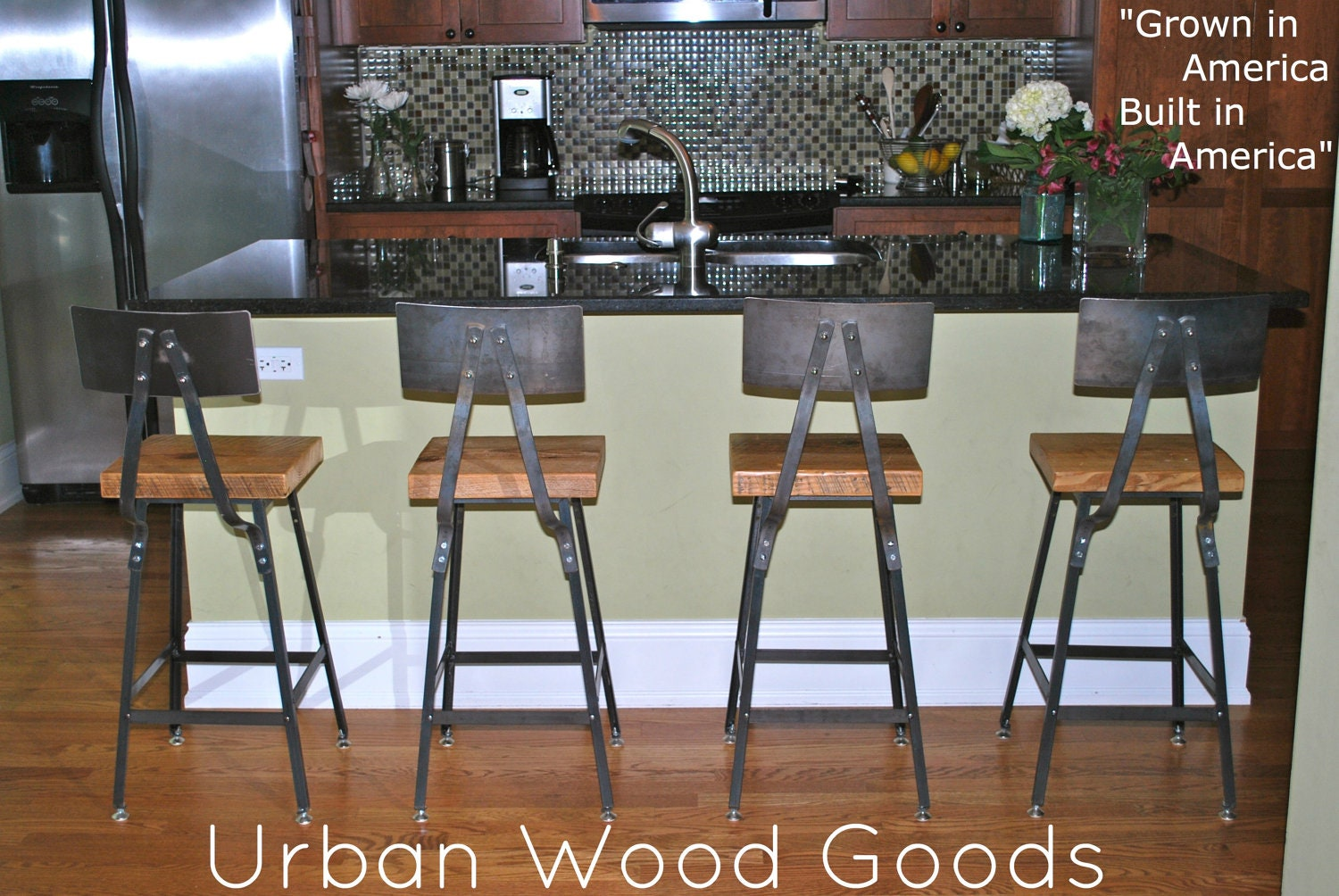 Reclaimed Wood Bar Stools ~ Reclaimed wood and steel industrial shop stool by