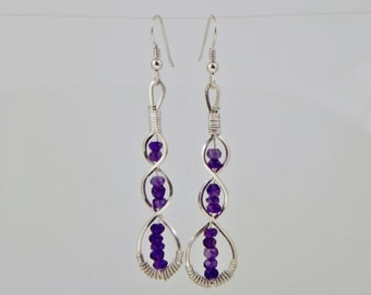 Micro Faceted Amethyst DNA Argentium Sterling Silver Wire Wrap Earrings