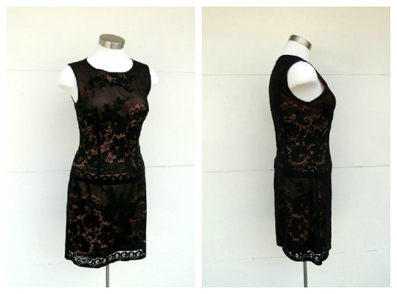 RESERVED for Shohaminc ~ Black Lace Skirt Top Set Fredericks of Hollywood Vintage Early 1990s