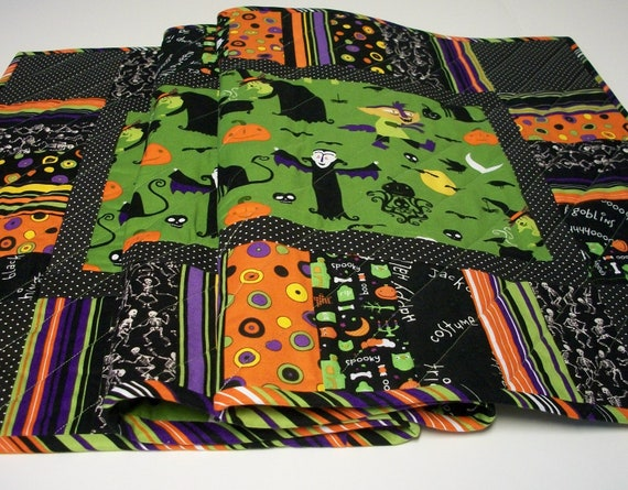 Halloween Table Runner Eerie Alley Handmade Reversible Quilted Ready to Ship One of a Kind