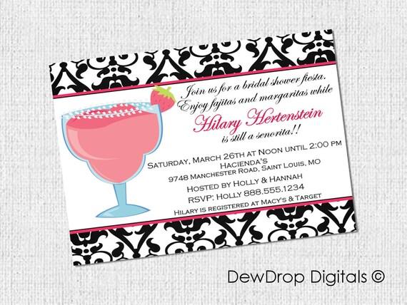 Margarita Bachelorette Party Invitation Bachlorette Invite Bridal Shower Margaritas Fiesta Pink Damask YOU PRINT Wedding