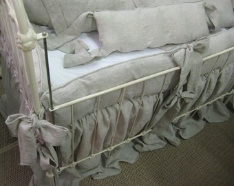Tailored Crib Bumpers and Gathered Storybook Crib Skirt in Washed Oatmeal Linen
