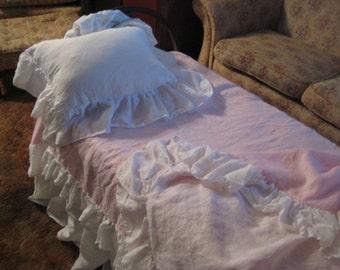 Ruffled Washed Linen Duvet - Single Bed Size