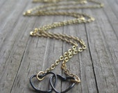Two Hearts Necklace - Black on Gold, Long