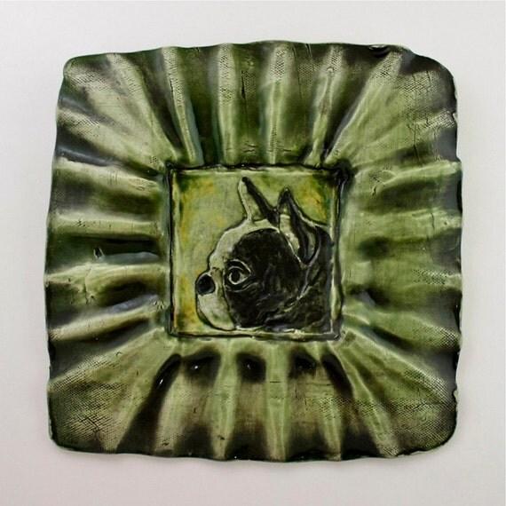 Wall Art: Boston Terrier Large Square Framed Ceramic Wall Tile