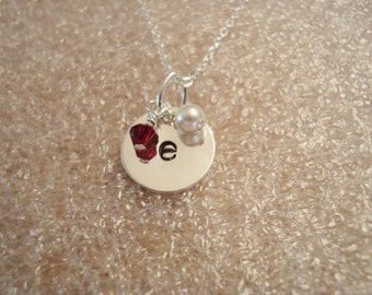 Initial on Sterling Silver with Pearl and Birthstone