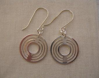 Silver Hoop Earrings, Dangle and Drop Earrings. Circle Earrings, Everyday Jewelry, Modern Earrings, Silver Dangle Earrings, Labyrinth Charm