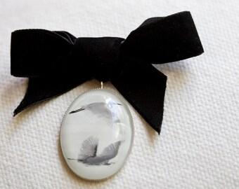 Snowy Egret, White Brooch,  Nature Jewelry, Black Velvet Bow Brooch, Art PIn, Black and White Photo Pendant, Nature Lover Gift