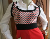 Vintage 1970s Red White and Black long Dress Small free shipping