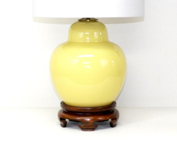 Hollywood Regency Glass Lamp . Yellow Ginger Jar Form