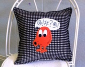 "Q-Bert  14"" decorator pillow -  Made to Order- FREE US SHIPPING"