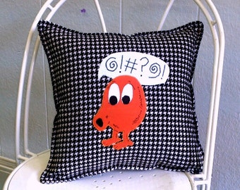 "Q-Bert  14"" decorator pillow -  Made to Order- FREE US SHIPPING"