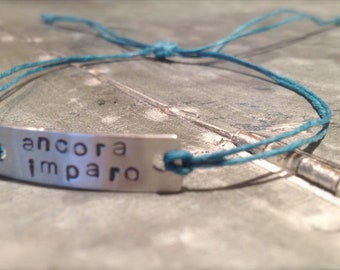 Ancora Imparo Stamped Waxed Linen Bracelet - Graduation Gift - Teacher Gift - College - Personalized - Turquoise