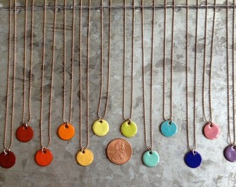 Candy Dots - Penny Candy - Upcycled Enameled Penny Necklace - Recycled