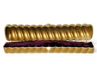 Vintage Bretton Bracelet Watch Jewelry Presentation Box Plum Maroon Velvet