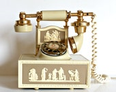 Vintage Mid Century French Style Rotary Telephone. Ivory Grecian Cameo Motif.