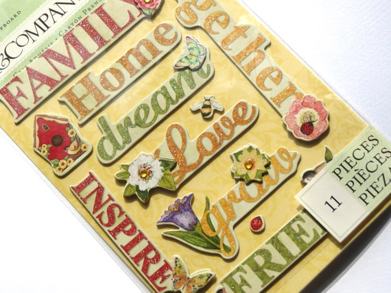 Meadow Word Dimensional Chipboard Stickers from K&Company 11pcs