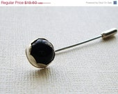 ON SALE Onyx Sterling Silver Stick Flower Bud Pin/ Hat Pin/ Scarf Pin/ Hijab Pin/ Lapel Pin