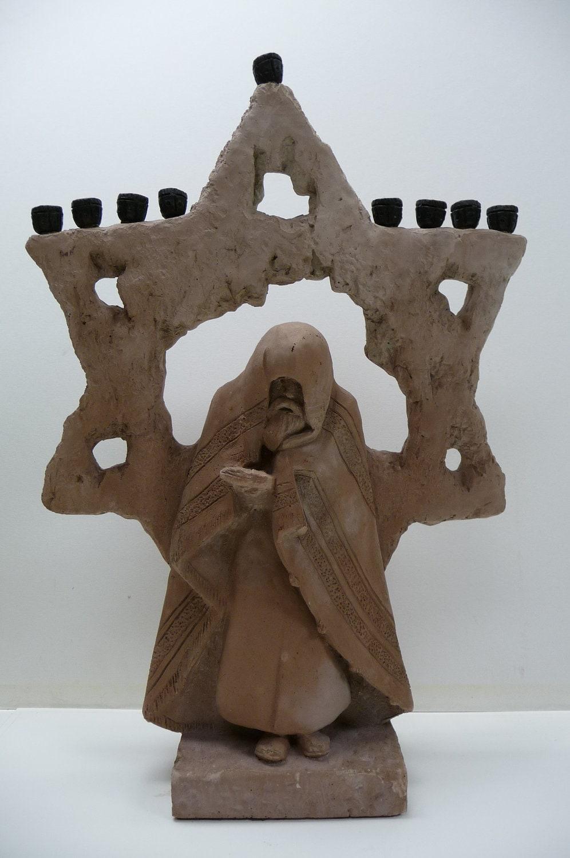 Vintage Austin Statue Jewish Menorah Figural Man By