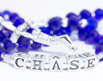 Personalized Rosary with name in September Birthstone