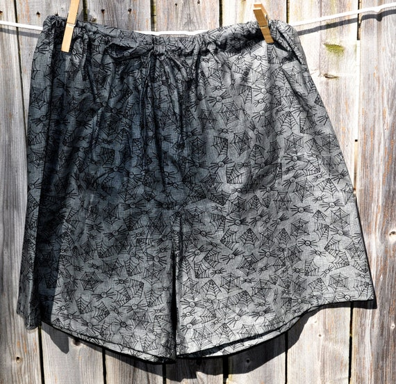 Boxers sleep shorts pajamas spider and spider web print LARGE ready to ship