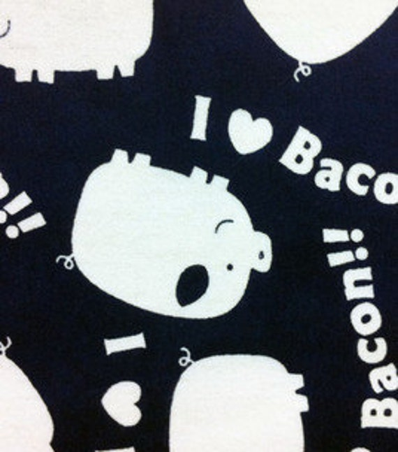 I heart love bacon print flannel pants  pajama dorm lounge made to order your choice size XS - 2X