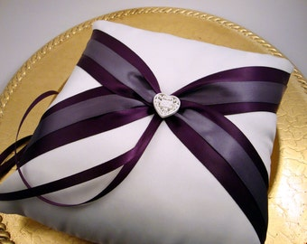 Fifth Avenue Ring Bearer Pillow in White, Eggplant and Lilac  - Pick Your Own Color