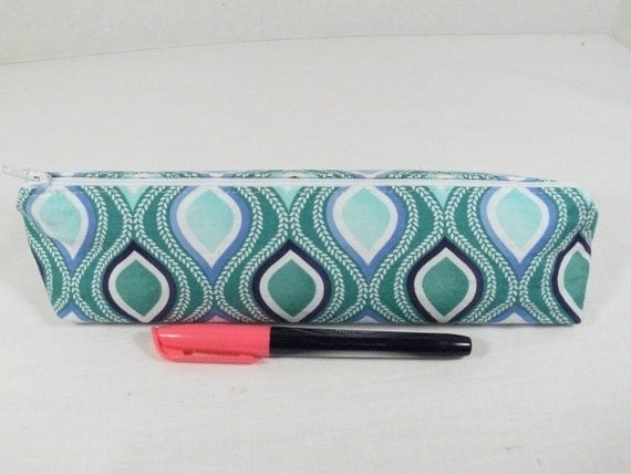 Pencil case // Back to school - Modern peacock print - make up brushes, cosmetics, tampon case