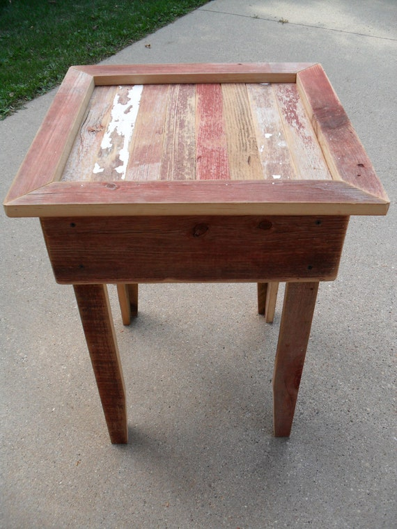 Red Scrap End Table