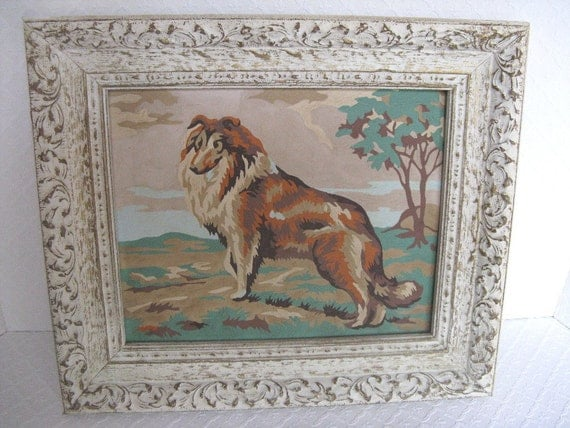 Vintage Framed Paint by Number Collie Painting