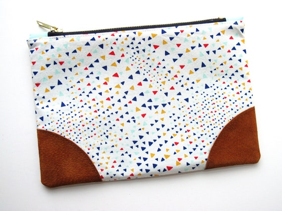 Triangles Leather Accent Zipper Pouch