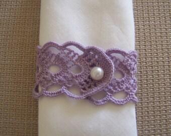 crochet  napkin rings 2 pieces lavender colour