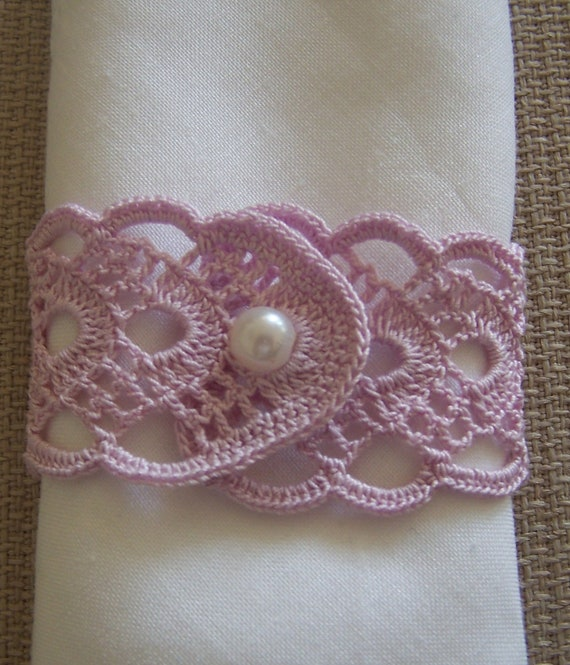 crochet napkin rings 2 pieces lilac. Black Bedroom Furniture Sets. Home Design Ideas