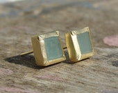 Aquamarine Earrings , Aquamarine Gold Studs , Square Earrings , Aquamarine Posts , March Birthstone Earrings