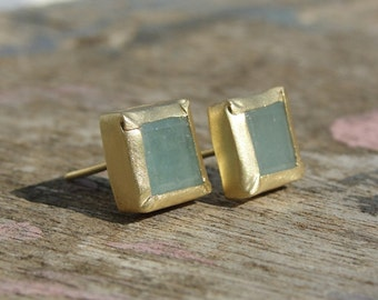 Aquamarine Earrings , Aquamarine Gold Studs , Square Earrings , Aquamarine Posts , March Birthstone Earrings