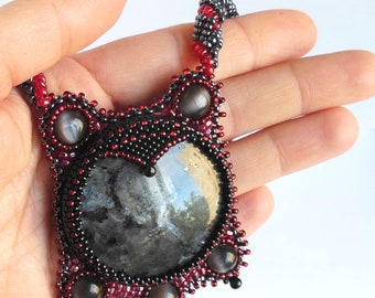 Pendant  Natural gray Larvikite , Natural  black Onix, beads rope,embroidered necklace