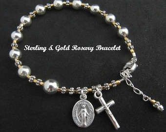Sterling Silver and Gold Rosary Bracelet