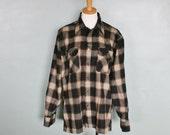 20 Dollar Sale - Vintage 80s BACKPACKER Flannel Shirt - Men Small Medium- Check Plaid