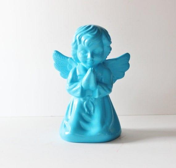 Upcycled ANGEL Figurine - Aqua Blue - Ceramic Religious Figure