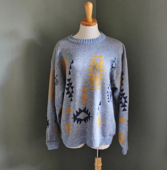 Vintage 80s AZTEC Le Tigre Sweater - Men Small - Women Medium Large