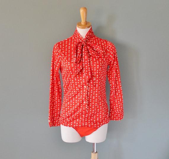Vintage 70s Red Floral Bodysuit - Mod - Women M L - One Piece
